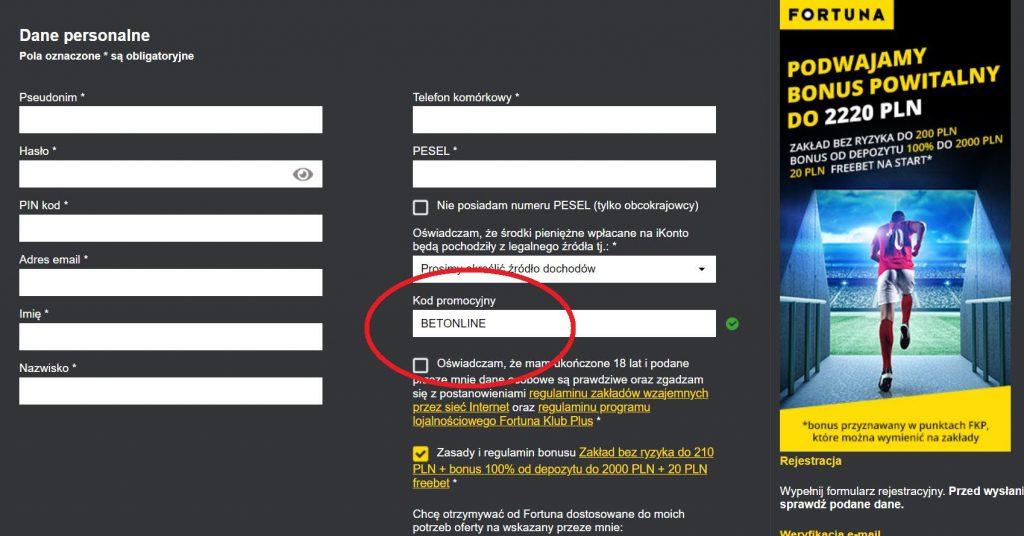 Fortuna kod promocyjny - bonus bez depozytu 20 PLN